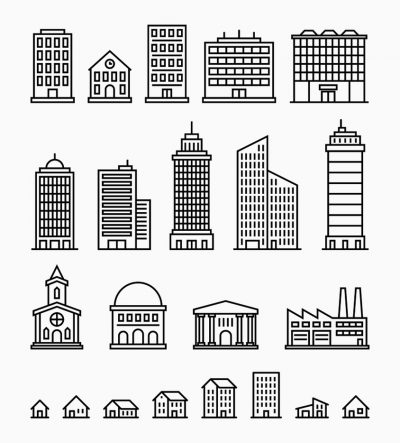 Simple drawing of building shapes